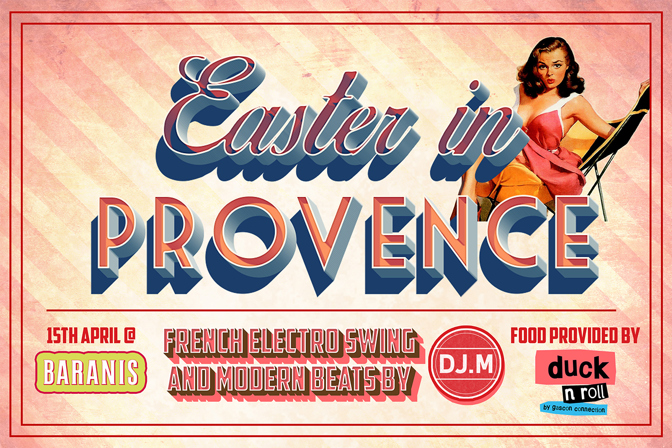 Poster for an Easter in Provence party at Baranis on 15th April